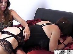 Warm Mistress spanks promiscuous crossdressers tight ass for wearing her silk panties