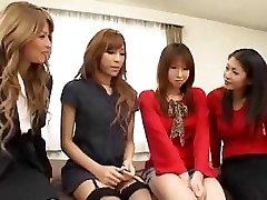 Pretty Asian trannies orgy