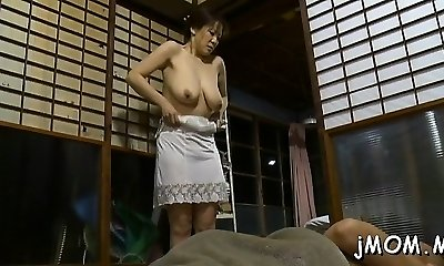Hot bondage & discipline act with older babe giving head and using toys