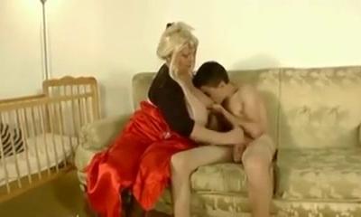Granny drills skinny dude