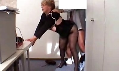 Office Granny Fucked  in pantyhose