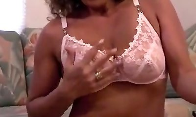 Cool tan mature in stockings solo