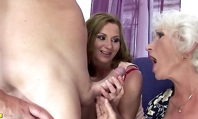 Mom and grannie fucked and peed on by son