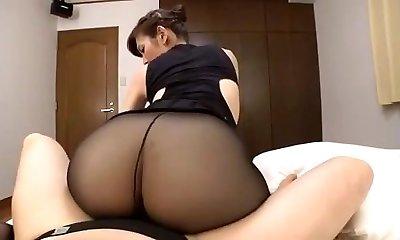 Japanese mature black pantyhose sex