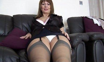 Mature busty secretary talks messy