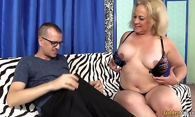 Enormous Blonde Granny Summer Sucks Mean Trouser Snake and Fucks Like a Banchee