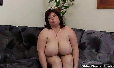 Huge-chested and mature BBW masturbates with magic wand