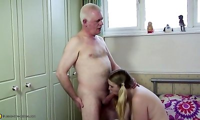 Old father pummels young daughter