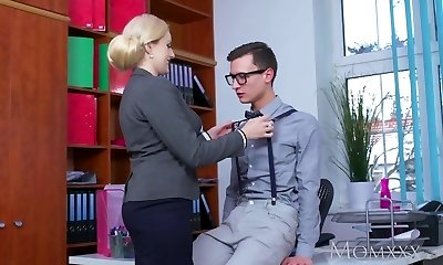 Mommy Blonde big tits Milf sucks massive geek cock