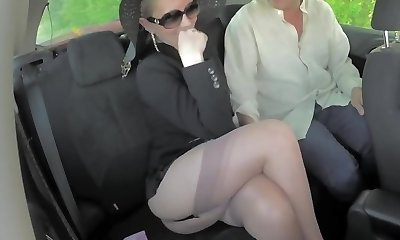 Blonde sexy gams mature cougar shows stocking tops