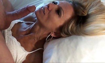 Petite mature blond POV facial cumshot and replay