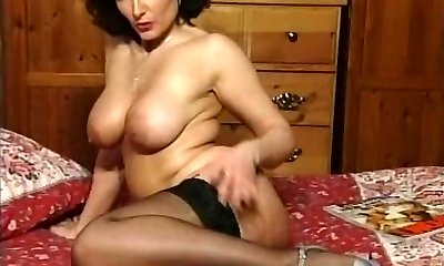 Hot Brunette Huge-titted Cougar Teasing in various outfits V SEXY!