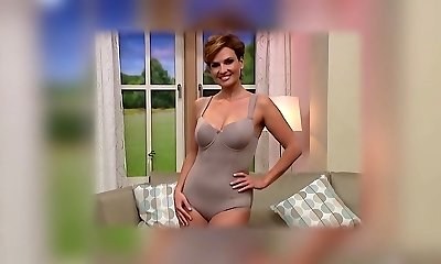 Mature model cameltoe on TV store. Lingerie