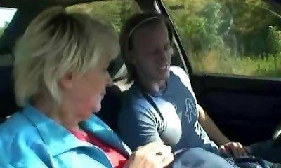 Car driver bangs granny whore