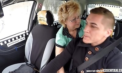 Czech Mature Towheaded Hungry for Cab Drivers Cock
