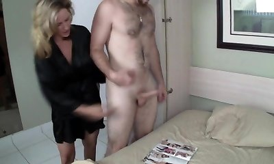 Mom Helps Son Wank