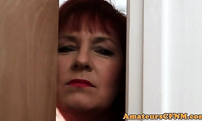 Mature CFNM femdom gargling cock and nut sack