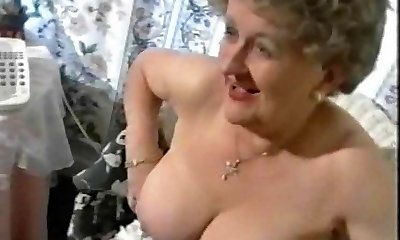 Chubby Senior Granny Teases in Stockings