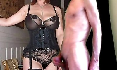 cuckold cum for mature huge-titted wife in stockings