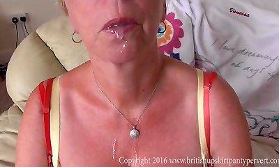 British Upskirt mature Aunty Shirley swallows cum