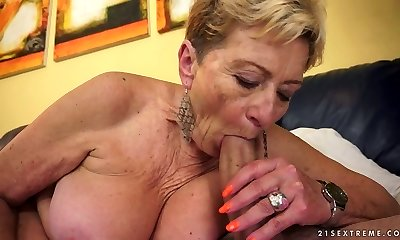 Aroused granny Malya sucks firm knob with extreme passion