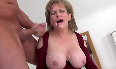 LS blasted with facial while railing a sybian