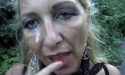 Pierced Blonde Mommy Gets A Facial Cumshot Outdoors