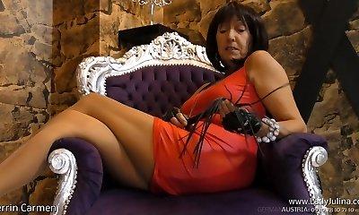 Mature MILF Femdom Nylon Pantyhose Jerk Off Instructions Mistress Mistress