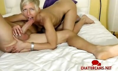 Blond MILF Gives LIVE Anal Fingering Blowjob
