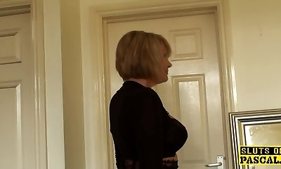 Glamorous grandma fingering herself