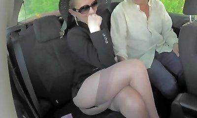 Blond stunning legs mature milf shows stocking tops