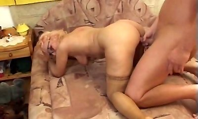 Grandma in Glasses and Stockings Bj's and Fucks
