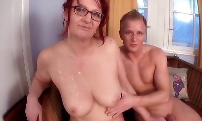 Redhead-BBW-Granny with Glasses fucked by youthfull Stud