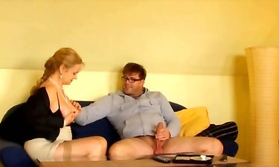 Ultra-kinky shy boy in glasses doggy fucked chubby ash-blonde haired MILF rigid