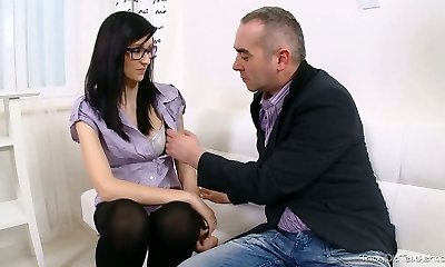 Brunette college girl in glasses seduced by her mischievous aged lecturer