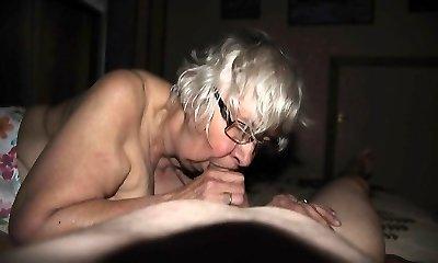 grannie with big boobs has fun