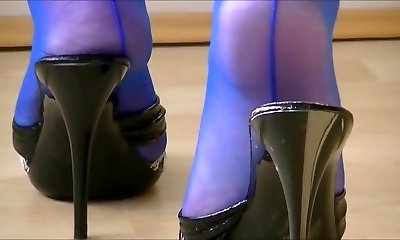Mature Mules Have Fun In Electric Blue Seamed Stockings