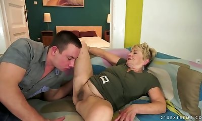 Insane short haired granny Malya gets her hairy muff nailed hard