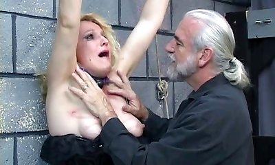 Old ash-blonde milf gets roped in for some discipline