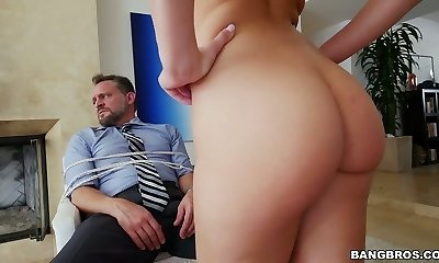 Bound up mature man gets deepthroat blowjob by Aidra Fox