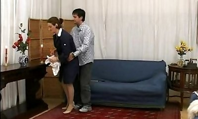 Mature maid takes it in the butt