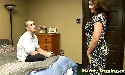 Bigboobs cougar mature seduces firm cock