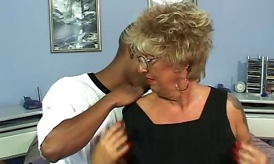Pierced Nipples Tattoo Granny in Stockings Penetrates