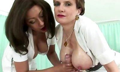 Huge-titted mature nurse gets a cumshot