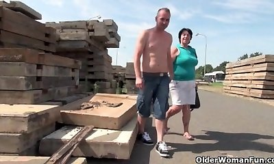 Gross grandma with 1 inch nipples poked outdoors