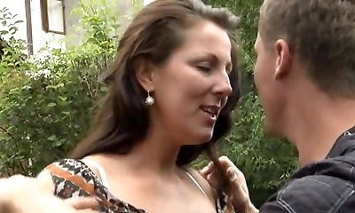 German Mommy Outdoor Strong Sex.