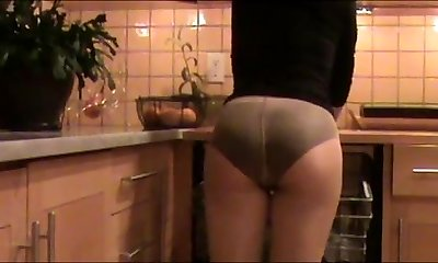 Mom Cleans The Kitchen In Panties Under Stockings