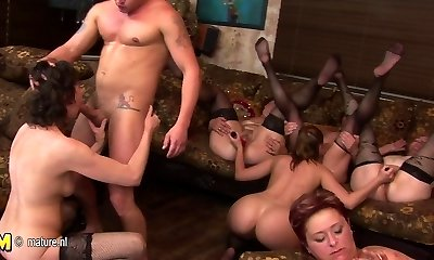 Mature group sex party goes horny