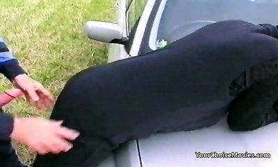 Older mature couple risky outdoor romp