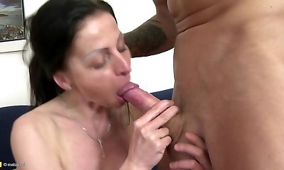 Magnificent mature mom opens her pussy for not her son
